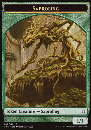 token 1/1 green Saproling creature